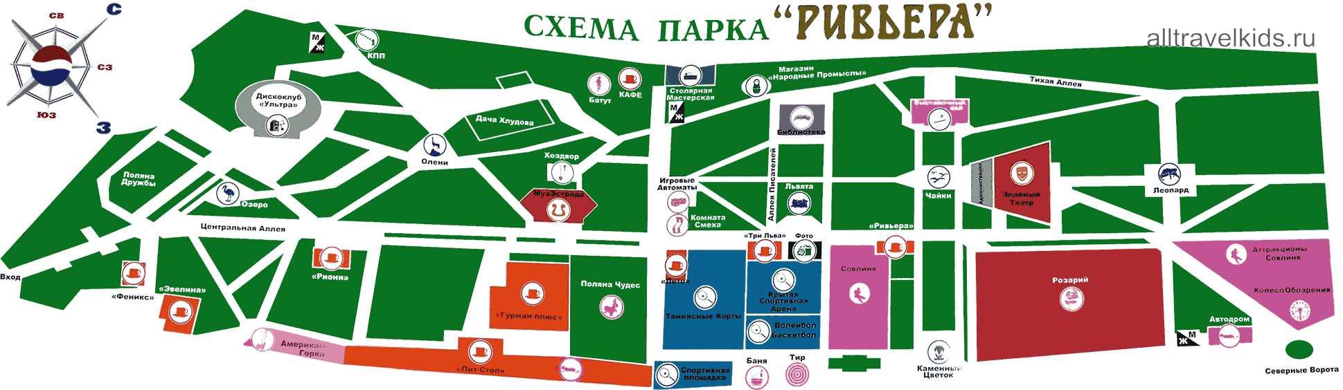 карта развлекательного парка «Ривьера»